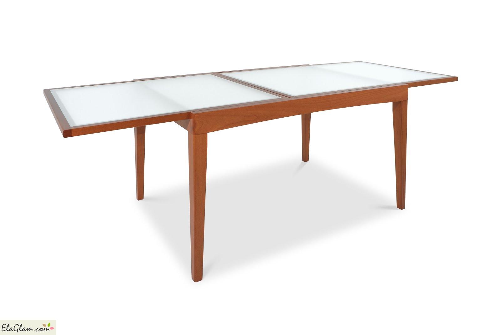 Tavolo Rettangolare In Vetro.Tavolo Rettangolare Allungabile In Legno Con Piano In Vetro H13013