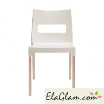 Sedia con gambe in faggio e struttura in polipropilene h7493 lino + trasparente