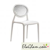 Sedia in polipropilene rinforzato e schienale in policarbonato h74121 lino + trasparente